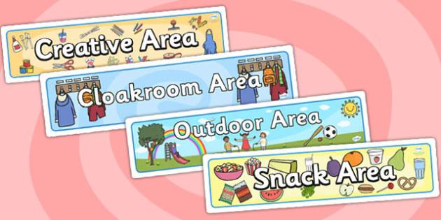 Classroom Area Banners (Set) - Classroom Area Signs, KS1, Banner, Foundation Stage Area Signs, Classroom labels, Area labels, Area Signs, Classroom Areas, Poster, Display, Areas