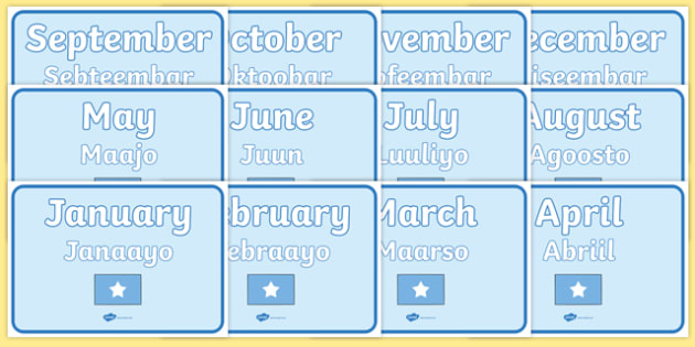 Months of the Year Signs EAL Somali Translation - somali, months of the year, signs, display, months, year, date