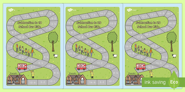 Subtraction Bus Board Game - subtraction, bus, board game, board, game