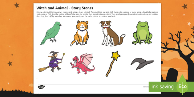 Witch And Animals Story Stone Image Cut Outs
