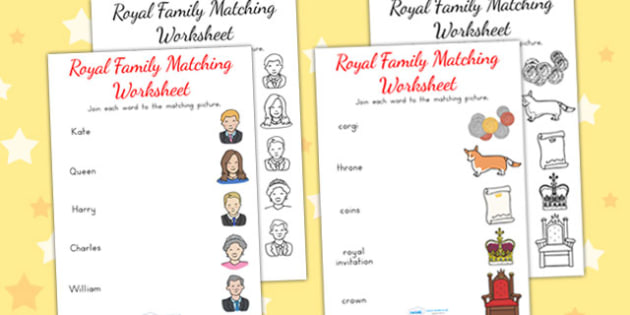 Royal Family Word and Picture Matching Worksheet - match, sort