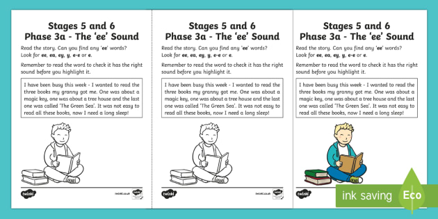 Northern Ireland Linguistic Phonics Stage 5 and 6 Phase 3a, 'ee' Sound Activity Sheet