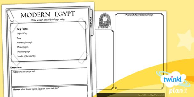 History: Ancient Egypt LKS2 Unit Home Learning Tasks