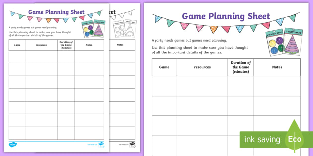 party planning sheet
