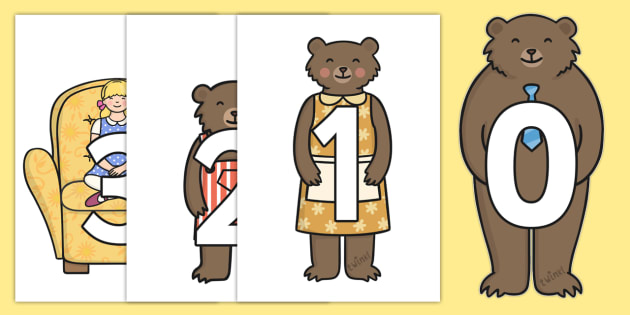 0-9 Display Numbers (Goldilocks) - Goldilocks and the Three Bears, 0-9, numbers, foundation stage numeracy, Number recognition, Number flashcards, counting, number frieze, Display numbers, number posters playdough, traditional tales, tale, fairy tale