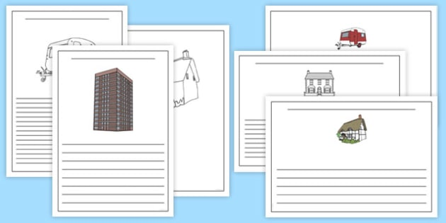 My House Design Writing Frames - BIC picture, houses and homes, writing template, house, home, Word cards, Word Card, flashcard, flashcards, brick, stone, detached, terraced, bathroom, kitchen, door, caravan, where we live, ourselves