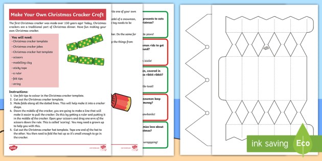 Christmas Cracker Template Pdf Primary Teaching Resources