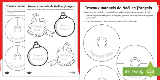 Travaux manuels de Noël - fête, décoration, boule, sapin, papier, festif, festivité, 25 décembre