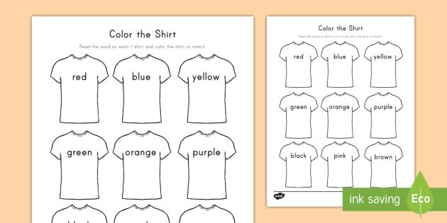 Color the T-Shirt Worksheet / Worksheet - Sight Words