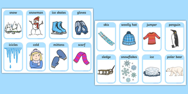 Winter Words and Pictures Flashcards - winter, visual aids, cards