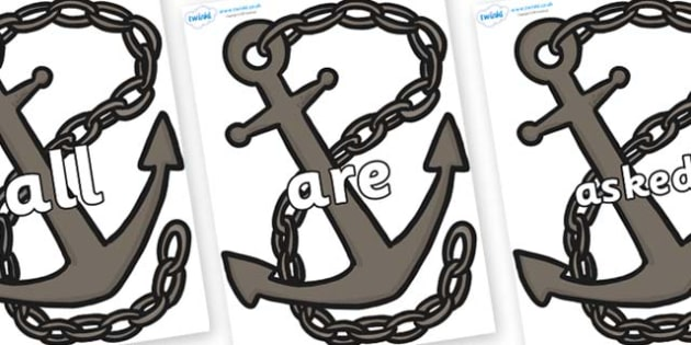 Tricky Words on Anchors - Tricky words, DfES Letters and Sounds, Letters and sounds, display, words