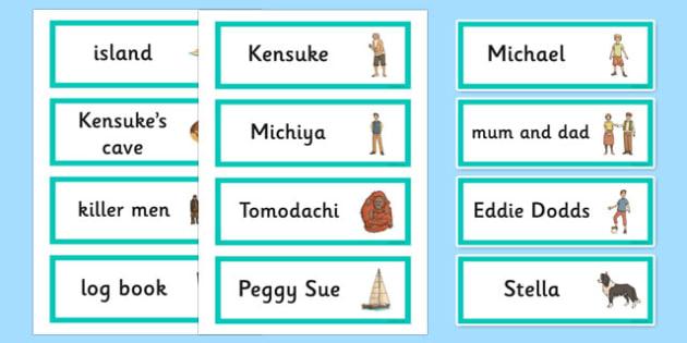 Kensuke's Kingdom Word Cards - stories, story books, visual aid