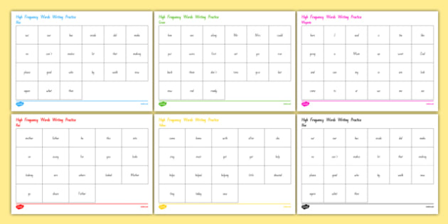 High Frequency Words Reference Sheets - nz, new zealand, hfw, word worksheet, writing aid