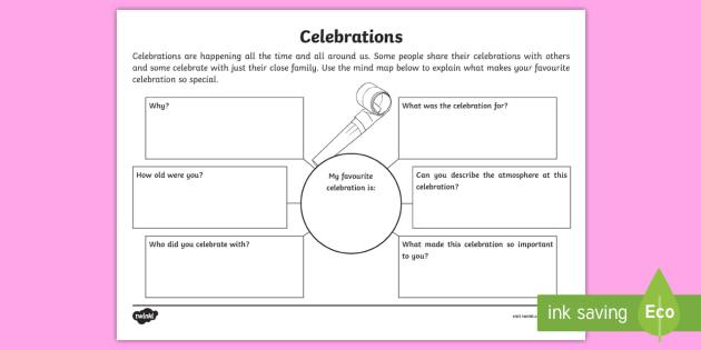 celebrations mind map worksheet activity sheet achassk065. Black Bedroom Furniture Sets. Home Design Ideas