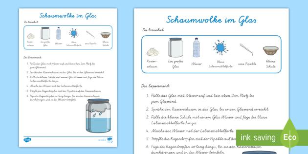 NEW * Experiment: Schaumwolke im Glas Arbeitsblatt - Wetter