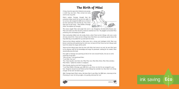 The Birth of Māui Print-Out
