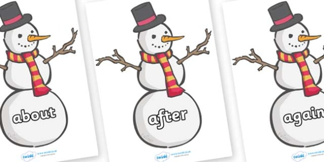 KS1 Keywords on Snowmen - KS1, CLL, Communication language and literacy, Display, Key words, high frequency words, foundation stage literacy, DfES Letters and Sounds, Letters and Sounds, spelling