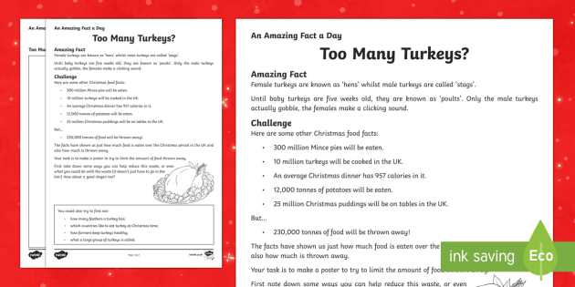 Amazing Fact a Day KS2 Countdown to Christmas Day 2 Too Many Turkeys Worksheet / Activity Sheet - Amazing Fact Of The Day, worksheet / activity sheets, powerpoint, starter, morning activity, December, Christmas