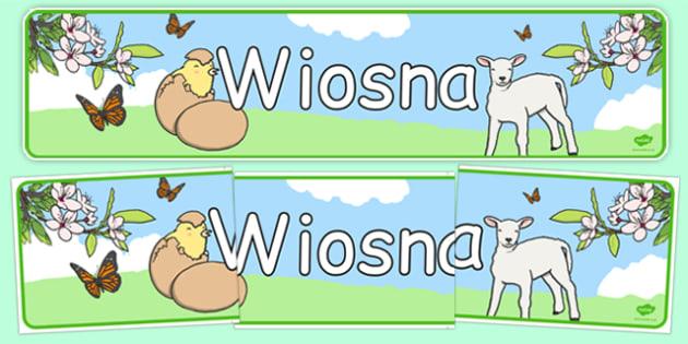 Banner na gazetkę Wiosna po polsku - pory roku