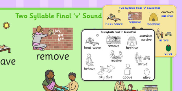 Two Syllable Final 'V' Sound Word Mat - final v, sound, word mat
