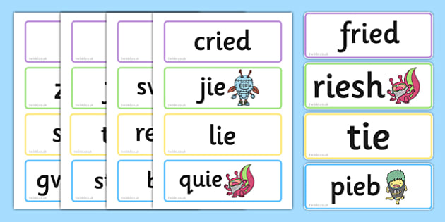 Phase 5 'ie' Flashcards Real and Nonsense Words - phase 5, ie, flashcards