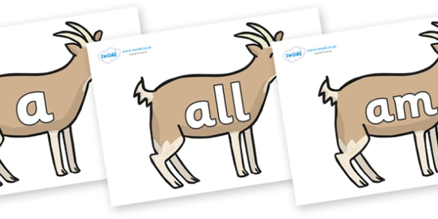 Foundation Stage 2 Keywords on Goats - FS2, CLL, keywords, Communication language and literacy,  Display, Key words, high frequency words, foundation stage literacy, DfES Letters and Sounds, Letters and Sounds, spelling