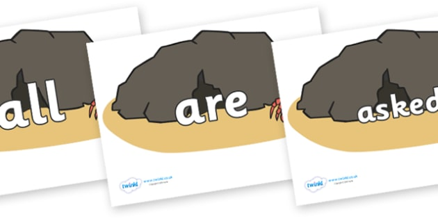 Tricky Words on Caves - Tricky words, DfES Letters and Sounds, Letters and sounds, display, words