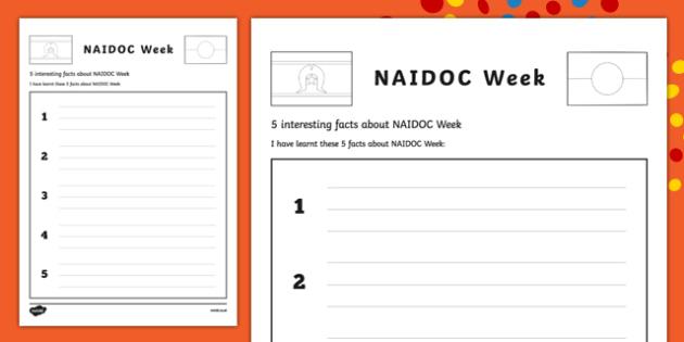 NAIDOC Week- 5 Interesting Facts Worksheet / Activity Sheet Worksheet / Activity Sheet-Australia, worksheet