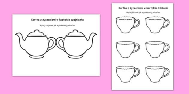 Kartka z życzeniami w kształcie czajniczka i filiżanek Dzień Matki
