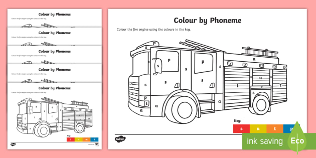 Colour by Phoneme Fire Engine Phase 2 Activity Pack ...