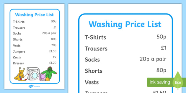 Laundrette Role Play Washing Price List - washing, laundrette, washing machine, wash, price list, prices, list, washing powder, clothes, socks, T-shirt, trousers
