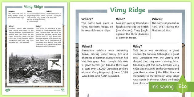 Vimy Ridge Fast Facts Fact File - Remembrance Day, Canada, Social