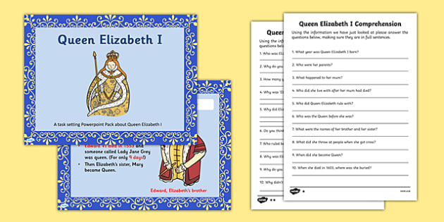 Queen Elizabeth I Powerpoint Task Setter and Activity Pack