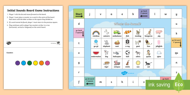 Initial Sounds Board Game - sound, sound games, phonics