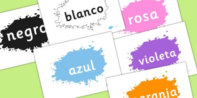 Spanish Colour Words on Splats - spanish, colour, words, splat