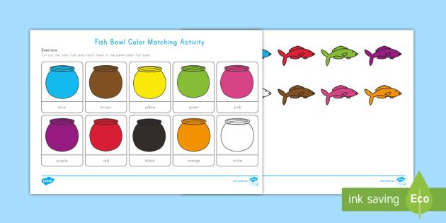 Fish Bowl Color Matching Activity Mat Pets Family Pets