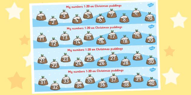 1-40 Christmas Puddings - 1-40, christmas, puddings, counting