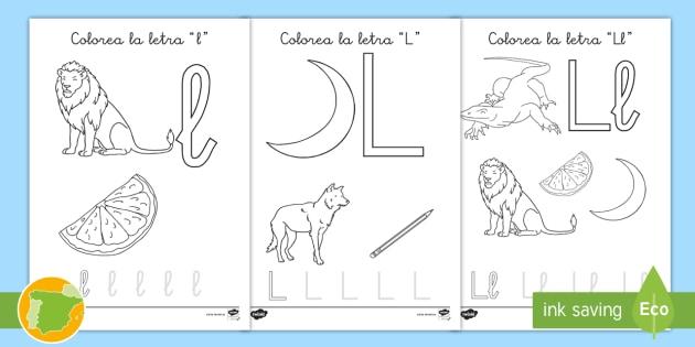NEW * Hoja de colorear: La letra l - abecedario, alfabeto, palabras