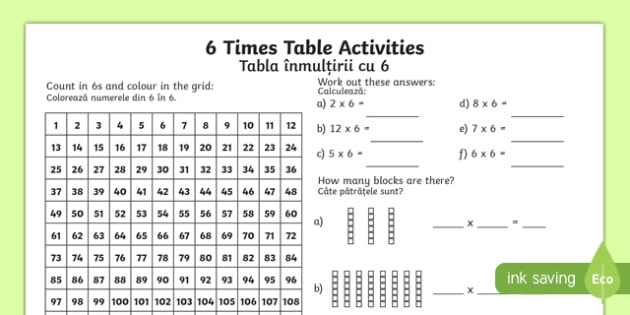 6 times table worksheet activity sheet englishromanian 6 6 times table worksheet activity sheet englishromanian 6 times table worksheet ibookread PDF
