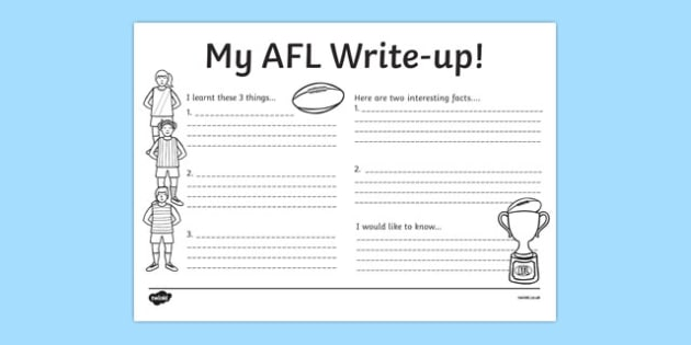 AFL Australian Football League Write Up Worksheet - writing, AFL