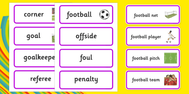 Rio 2016 Olympics Football Word Cards - Football, Olympics, Olympic Games, sports, Olympic, London, 2012, word card, flashcards, cards, activity, Olympic torch, events, flag, countries, medal, Olympic Rings, mascots, flame, compete