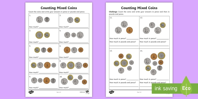 counting mixed coins worksheet activity sheet uk currency. Black Bedroom Furniture Sets. Home Design Ideas