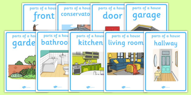 Parts of a House Display Posters - houses and homes, house, home, Word cards, Word Card, flashcard, flashcards, brick, stone, detached, terraced, bathroom, kitchen, door, caravan, where we live, ourselves
