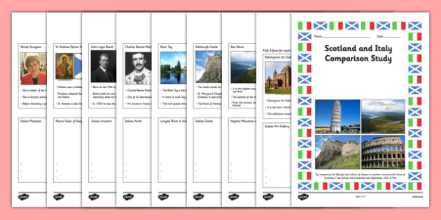 Scotland and Italy Comparison Study Research Booklet - CfE, Comparison Study, people and place, Scotland, Italy