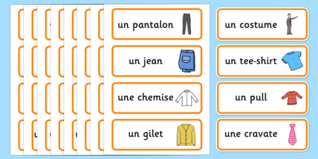 Clothes Shop Word Cards French - french, Clothes shop Role Play, clothes shop resources, shop, till, buy, money, clothes, ourselves, shoes, role play, display, poster, Word cards, Word Card, flashcard