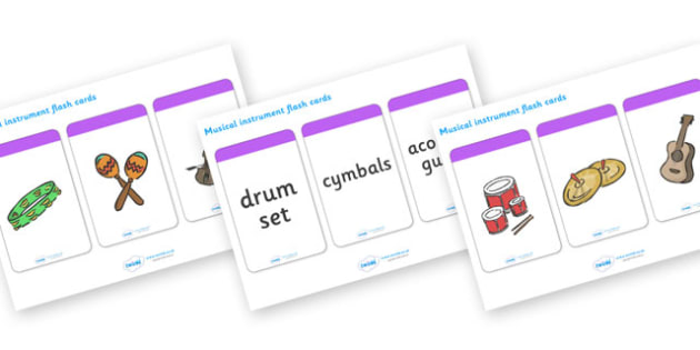 Musical Instrument Flashcards (Matching Pack) - Music, instrument, action, word card, flashcard, word cards, playing instruments, piano, drums, guitar, recorder, violin, triangle, cymbals, notes, music