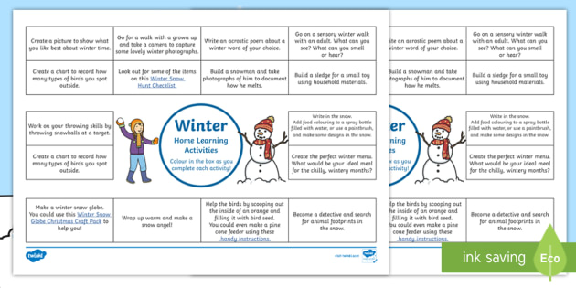 Winter Home Learning Activities Overview - Homework, home Education, outdoors, outdoor learning, parents, learning at home, creative, elt,Scott