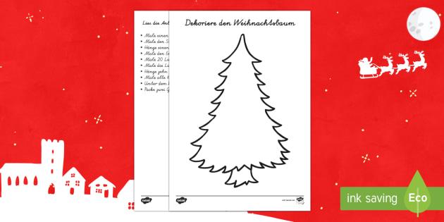 Weihnachtsbaum dekorieren Arbeitsblatt: Lesen und Malen-German