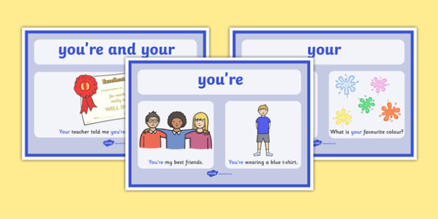 Your and You're Display  Posters - your and you're, difference, display, poster, sign, tricky, words, difficult, literacy, sounds, sound, spelling