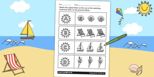 Seaside Themed Capital Letter Matching Worksheet - uppercase